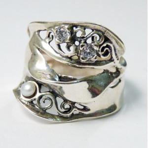 Inel argint perla si cubic zirconia R5481