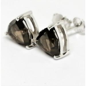 Cercei delicati din argint cu surub VE015851-cuart fumuriu