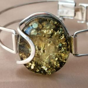 Bratara argint -chihlimbar verde B3098-1
