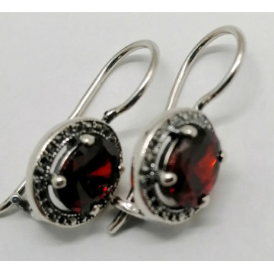 Cercei argint delicati -red quartz -9501SR