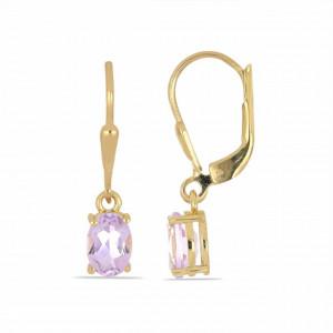 Cercei AVA- argint placat cu aur -VE015930 pink ametist