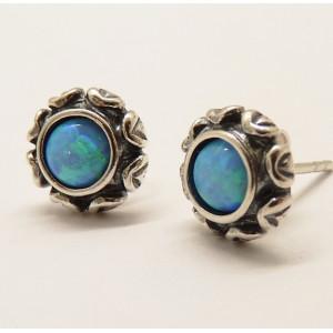 Cercei cu surub din argint E2519 opal