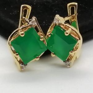 Cercei Liana -argint placat cu aur si onix verde--VE019494