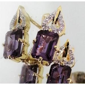 Cercei Nadine -argint placat cu aur si alexandrit