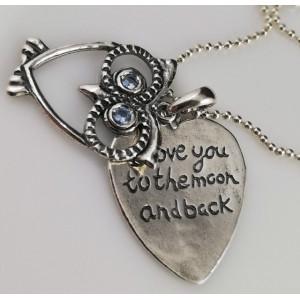 Colier argint bufnita cu doua plăcuțe mobile - N4318- <Te iubesc pana la luna si inapoi >