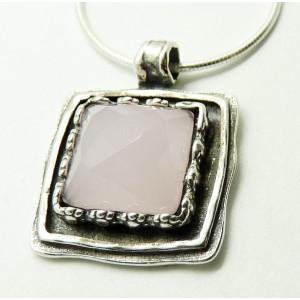 Colier argint cuart roz N3365