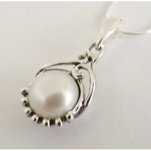 Colier argint perla N711-1481