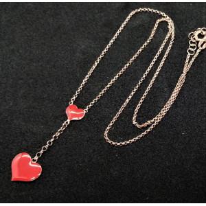 Colier argint placat cu aur roz si email rosu N18 1109 -1370