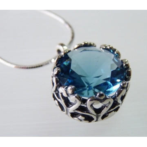 Colier din argint blue topaz - N1128