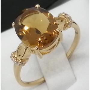 Inel Afrodita-argint placat si aur Honey Quartz VR014176