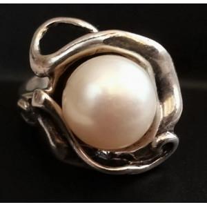 Inel argint perla R882