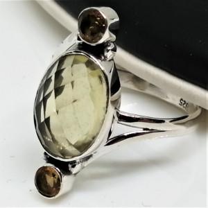 Inel argint RG5 - cuart lemon si fumuriu