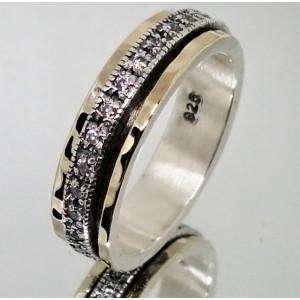 Inel argint si aur 14k cu zircon R4708
