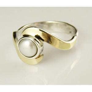 Inel argint si aur 14k perla -102507