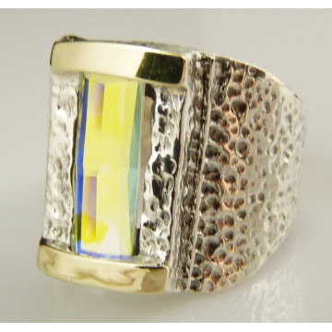 Inel argint si aur 14k quartz -curcubeu- cod 100978