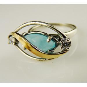 Inel argint  si aur 9 k -10378 blue ocean quartz