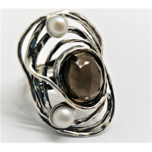 Inel din argint cuart fumuriu R6006