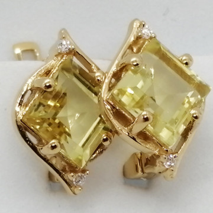 Liana -Cercei argint placat cu aur si lemon topaz -VE019494