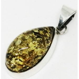 Pandantiv argint chihlimbar verde P2121-1
