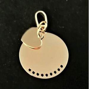 Pandantiv -argint placat cu aur galben-CNPV0117RHCU- Bănuț si inimioară