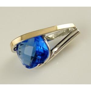 Pandantiv argint  si aur 9 k -20239 blue quartz