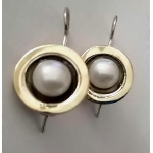 Cercei argint si aur 14k perla -202125