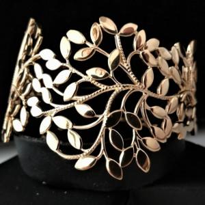 Bratara ampla -argint placat cu aur galben-frunze -BRPV0700PLGIA