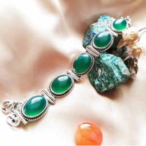 Bratara argint - B84 onix verde