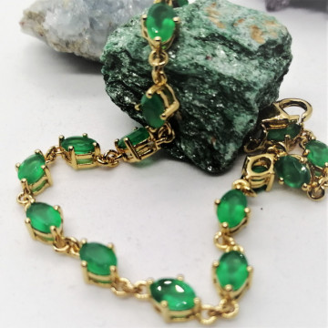 Bratara Nicole -argint placat cu aur si onix verde VB032687