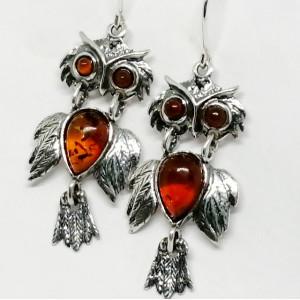 Cercei argint BUFNITE -chihlimbar cogniac E1144