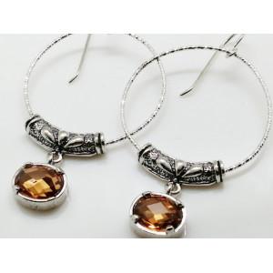 Cercei argint champagne quartz -E3570