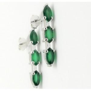 Cercei argint cu surub-VE019966 onix verde