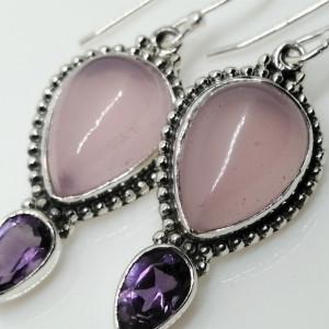 Cercei argint cuart roz si ametist- E302