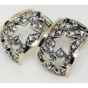 Cercei argint si aur 14k cu zirconii E3131