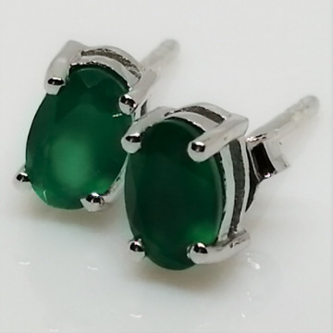 Cercei delicati din argint cu surub VE014818-onix verde