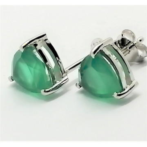 Cercei delicati din argint cu surub VE015851-onix verde