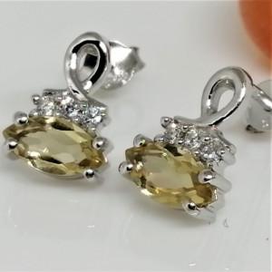 Cercei din argint cu surub VE010751 Honey Quartz