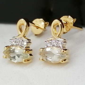 Cercei Luana -argint placat cu aur galben- VE010751 ametist verde