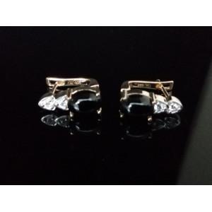 Cercei Luiza argint placati cu aur galben-VE014442 onix