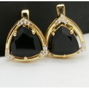 Cercei Oana-argint placat cu aur galben - VE016161 onix