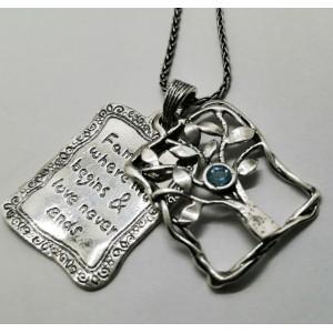 Colier argint placute mobile cu mesaj- N2792 topaz
