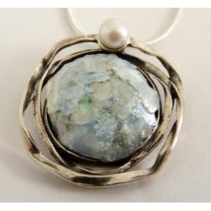 Colier argint -sticla romana -N8745