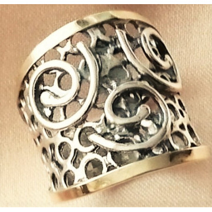 Inel argint decorat pe margini cu aur galben 14k-101303
