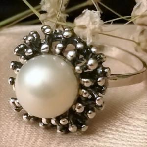 Inel argint perla R1278