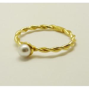 Inel argint placat cu aur galben- perla -ANJJ3910PLGIA