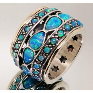 Inel argint si aur 14k, opal nobil R1714- PREMIUM
