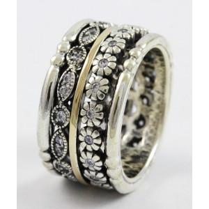 Inel argint si aur 14k -R4253