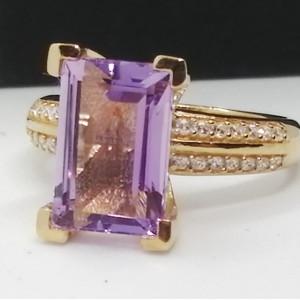 Inel Zoe -argint placat cu aur si pink ametist VR033234