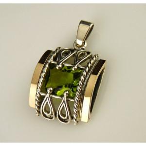 Pandantiv argint si aur 9 k -20001 green zircon
