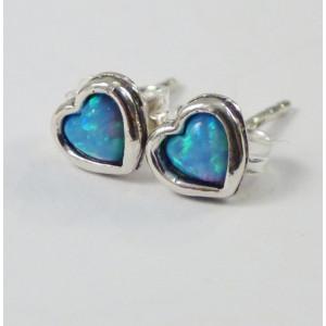 Cercei argint cu surub,piatra opal, forma inimioara-E472